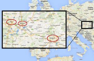 Localització de les tres capitals centreeuropees